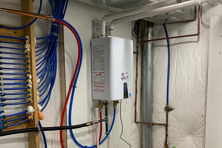 tankless water heater in basement